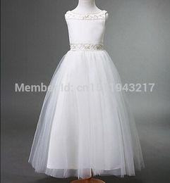 Toddler Flower Girl Dresses Wedding Canada - RHINESTONES TODDLER WEDDING PRINCESS PAGEANT FLOWER GIRL TULLE DRESS