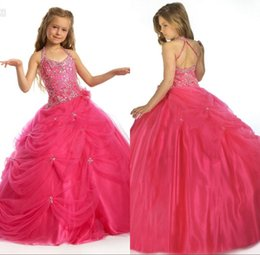 Robes De Couleur Orange Aux Filles Pas Cher-Fuchsia Colored Girls Pageant Robes Pour les ados Flower Girl Halter bretelles perles de boule de Noël à paillettes Ornement Parti Pageant Dress