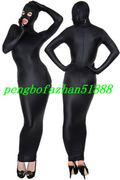 Wholesale new sexy body dresses resale online – New Black Lycra Spandex Body Bags Suit Costumes Sleeping Bag Outfit With Open Eyes Open Mouth Halloween Fancy Dress Cosplay Suit P022
