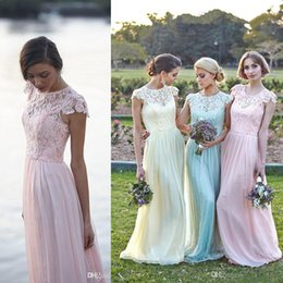 Robes À Manches Longues Jaunes Pas Cher-Lace Chiffon Maid of Honor Robes Une ligne Plus Size Cap Sleeve Pink Mint Light Yellow Demoiselle d'honneur Robes de soirée 2015 Printemps Custom