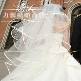 Filet Femme Sexy Pas Cher-Cathédrale Veil Fashion Womens Yarn Net Elégant et 2T long voile Hot Womens Sexy Bubble and White Bridal Veil