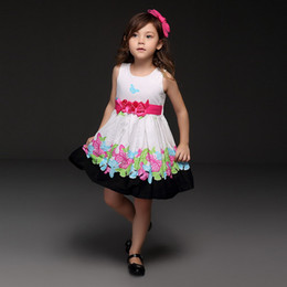 LoLita fLared dress online shopping - Pettigirl Summer Flower Belt Toddler Girl clothes Brand Colorful Butterfly Printed Princess Dresses Kids Clothes Retail GD21008 B