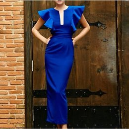 Barato Baile De Formatura Barato-Arab Chic Navy Blue Poet Sleeves Sexy Split Sheath Pavimento Comprimento Spandex Formal Evening Dresses Christmas Party Prom Vestidos baratos da China