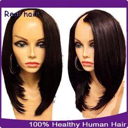 Chinese  1*3 Right Opening U Part Bob Wigs Short U Part Human Hair Wigs Brazilian Virgin Bob Wig For Black Women manufacturers