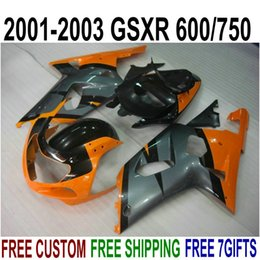 kit gsxr k1 NZ - Free customize bodykits for SUZUKI GSX-R600 GSX-R750 01 02 03 fairing kit K1 GSXR 600 750 2001-2003 orange black fairings set XA24