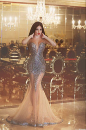 Discount classic Dresses online shopping - Said Mhamad Spring Prom Dresses See Through Neckline Beaded Pleats Discount Mermaid Prom Party Dresses Formal Evening Dresses