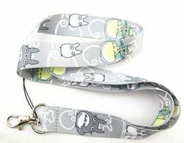Discount cell mobile phone strap key chain - Free shipping 30 Pcs gray My Neighbor Totoro grain Neck Strap Lanyard with Clip Fit Key ID Mobile Cell Phone Chain