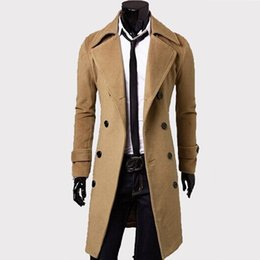 Barato Roupas Britânicas Grossistas-Atacado- Masculino Trench Coat Classic Double Breasted Trench Coat Masculino Vestuário Long Thick Jackets Coats British Style Oversize Coat 4XL