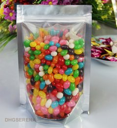 Discount wholesale stand up pouch - 100pcs lot-15*22cm+4cm transparent & aluminum coated zipper top stand up pouch bag for dried nuts food candy packaging