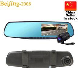 Chinese Quality Cameras Canada - HD 1080P 4.3'' Dual Camera Car Dvr Camera Rearview Mirror Dash Cam G-Sensor 170 Degree night vision High Quality Free DHL 010229