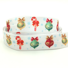 "$enCountryForm.capitalKeyWord NZ - 5 8"" Hot Sale Christmas Bell Print Fold Over Elastic 100 yards lot White Jingle Bell Hair Tie FOE Ribbon Webbing for Girls Elastic Hair Band"