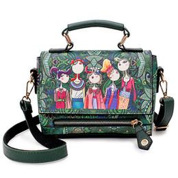 Patchwork Plaid Handbags Australia - new Fashion Women Leather Messenger Bag National Style Flower Print Handbag Ladies Small Crossbody Bags Women Shoulder Bags