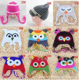 $enCountryForm.capitalKeyWord Canada - 150pcs best price 33 designs Popular Baby winter cap Children Crochet Hats Knitted Animal cap Baby Owl hats Beanie hat Earmuffs cap D402