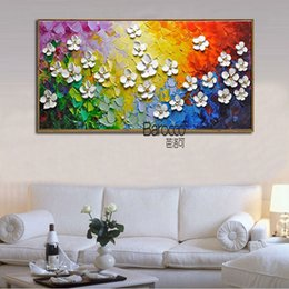 Shop simple flower oil painting uk simple flower oil painting free modern simple white flowers pure hand painted palette knife oil painting on canvas wall art home decoration mightylinksfo