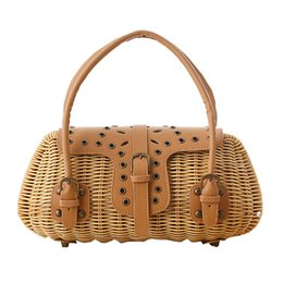 Ivory Handbags Canada - 2018 Fresh Style Straw Beach Bag Trunk-shaped Designer Women Handbag Vintage Woven Rattan Basket Knitted Wicker Beach Bags L213