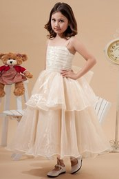 Ankle Length High Neck Wedding Dresses UK - New A-Line High Square Neck Ankle-Length Spaghrtti Straps Flower Girl Dress For Weddings Sleeveless