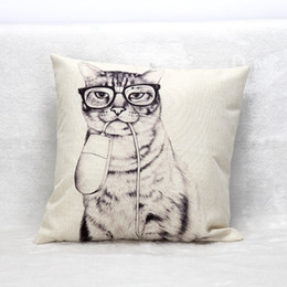 $enCountryForm.capitalKeyWord NZ - Fashion Cat With Computer Mouse Cushion Cover Hand Painting Animal Cushion Covers Sofa Throw Decorative Beige Linen Pillow Case