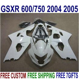 Motobike Kits Australia - Platic motobike parts for SUZUKI GSXR600 GSXR750 2004 2005 K4 fairing kit GSXR600 750 04 05 white black fairings set R13J