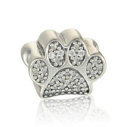 Animal Diy Posters Baratos-Paw Prints Charms Bead Authentic 925 Sterling Silver Animal Footprint Beads Para La Fabricación de Joyas DIY Brand Pulseras Accesorios HB384