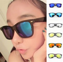 $enCountryForm.capitalKeyWord Canada - 350pcs best price Fashion Designer Multi-colors Mirror Lens girl Sunglasses women Popular Rivets Eyewear Reflective glasses D361