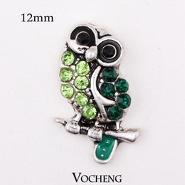 snap button jewelry owl NZ - Vocheng Nosoa 12mm Owl Style Custom Green Snap Button Ginger Snap Jewelry Interchangeable Jewelry Accessories (Vn-368)