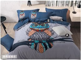 Wholesale Queen Owl Bedding Set King Size Cartoon Quilt Duvet Doona Cover Double Blue Bed In A Bag Sheet Bedroom Bedsheets Cotton Thick