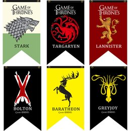 Ingrosso SATIN 10 Styles 70 * 125cm Game Of Thrones Stark flag Giochi Banner COS banner flag Home / Bar decora