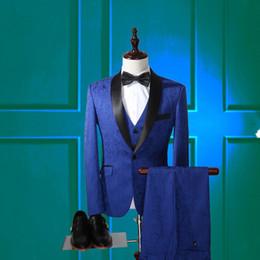 Adam üç parçalı takım elbise (ceket + pantolon + yelek) yüksek kaliteli jakarlı marka erkek giyim blazers skinny jeans iş resmi damat düğün PROM t indirimde