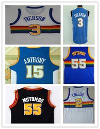 bc08b22fc NCAA 2017 Mens  55 Dikembe Mutombo  3 Allen Iverson Jersey Blue Classics  Rainbow Style High Quality Embroidery Jerseys S-XXL cheap classic  basketball jersey ...