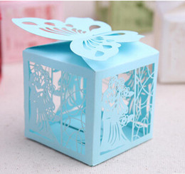Laser Cut Butterflies Canada - 100pcs European style Wedding Carton Candy Box Hollow out butterfly LOVES Laser Cut Candy Gift Boxs Wedding Party Favor Box TH29