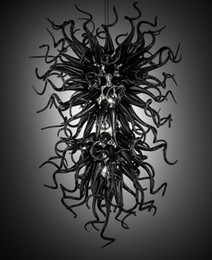 $enCountryForm.capitalKeyWord NZ - 100% Mouth Blown CE UL Borosilicate Murano Glass Dale Chihuly Art Black Chandelier Glass Ceiling Light Covers