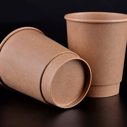 kraft cups Canada - 12oz Cafe Restaurant Paper Coffee Cup Disposable Thick Kraft Paper Milk Cup Party Drinking Supplies 100pcs lot SK753