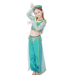 girls aladdins lamp jasmine princess costumes cosplay for children halloween party belly dance dress indian princess costume