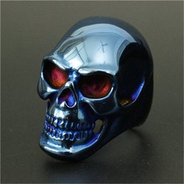 Men Size 15 Rings Australia - Size 8-15 Band Party Shining Big Skull Ring 316L Stainless Steel Cool Fashion Men Boy Blue Biker Skull Ring
