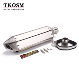 Atv Exhaust Canada - TKOSM 36-51mm Motorcycle Exhaust Modified Akrapovic Scooter Exhaust Muffler ATV Dirt Pit Bike Exhaust Case For YZF R1 R3 FZ6 MT07 MT09