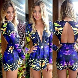 Wholesale 2015 Plus Size Women Jumpsuits Romper Sexy Long Sleeve Flower Print Shorts Jumpsuit For Women Female Body Overalls Bodysuit
