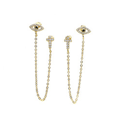 Chinese  top quality unique design factory wholesale cz CROSS evil eye charm dainty dangle chain double hole 925 silver stud earring manufacturers