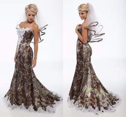 Custom veils online shopping - 2015 Camo Wedding Dresses Plus Veils Vintage Sweetheart Lace Mermaid Camo Bridal Gowns Backless Sweep Train Camouflage Wedding Gowns