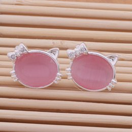 $enCountryForm.capitalKeyWord Canada - Fashion (Jewelry Manufacturer) 20 pcs a lot white pink hello Kitty earrings 925 sterling silver jewelry factory price Fashion Shine Earrings