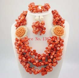 Indian Coral Beads Australia - Unique New Peach Coral Color Turquoise Beaded Nigerian Wedding Beads African Beads Jewelry Set HD305-1