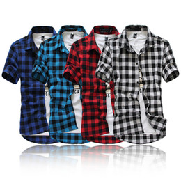 Barato Camisas Superiores Do Botão Para Homens-Men's Young Adult Casual Plaid Button-up Short Sleeve Turn-Down Collar Slim Fit Student Shirt Top M-2XL