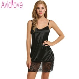 Wholesale- Avidlove Ladies Sexy Satin Night Dress Sleeveless Nighties  V-neck Nightgown Plus Size Nightdress Lace Sleepwear Nightwear Women 40579f6b7d1a