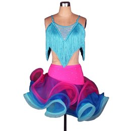 Girls Tassel Shirt Canada - Latin Dance Dress Women Girls Latin Salsa Dance Competition Dresses Tassel Samba Costumes Shirt Skirt Set D0193 Adjustable Strip Fluffy Hem
