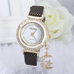 moon watch women 2019 - 100pcs lot kim seng Unique Crystal Watch Luxury Moon Pendant Wristwatches Lady Dress Watches Women Quartz Relogio Clock