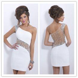 f3440c7cc99b 2015 elegante sexy Blush C153 cristalli bianchi abiti da cocktail una  spalla corta sheer back prom