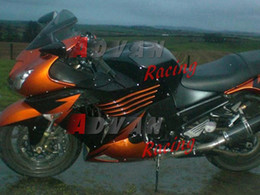 orange kawasaki ninja Canada - Latest bright orange and black pattern with bright colored custom plastic injection molding fairing Kawasaki Ninja ZX14R 06-11 45