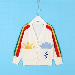Cardigans De La Manera De Los Muchachos Baratos-Everweekend Ins Girls Boys Rainbow Stripes Jersey de punto Cardigans Nubes Suns Autumn Cute Children Fashion Jackets