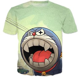 T-shirts Doraemon Pas Cher-Nouveaux femmes / hommes rue été décontracté t-shirt doraemon cartoon harajuku t-shirt Jingle chat 3d t shirt porter le hip hop en tête tees