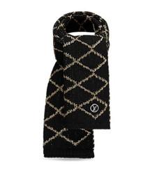 Discount genuine white fur scarf - 2019 180x35cm Check Women Wool Cotton Cashmere Silk Scarves Scarf Wrap Shawl Pashmina Logomania Shine Scarf
