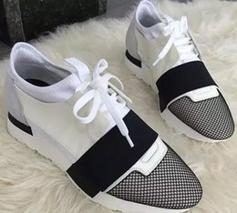 Wholesale Race Runner Black leather fabric sneakers Top Quality Designer Low Top women Shoes Casual Kanye West Style Race Runner Mesh Breathable Flats